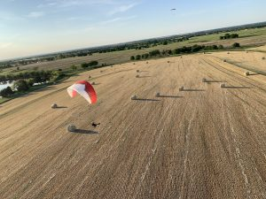 Paragliding - Hay fields