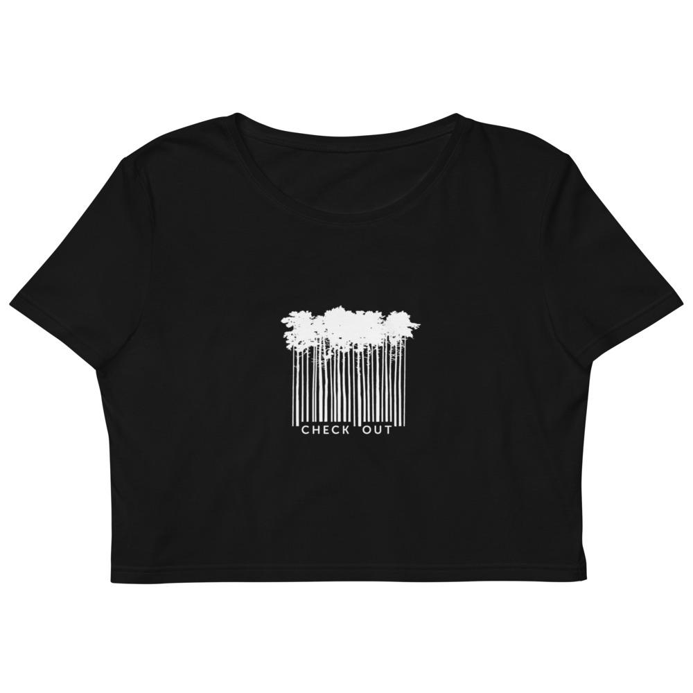 Checkout Bar Code Trees - Cropped Top - Women - Black