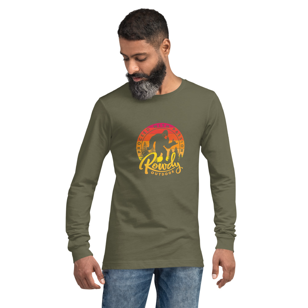 Masked Shaka Sign Sasquatch - Bigfoot COVID Long-Sleeve T-Shirt - Olive Green
