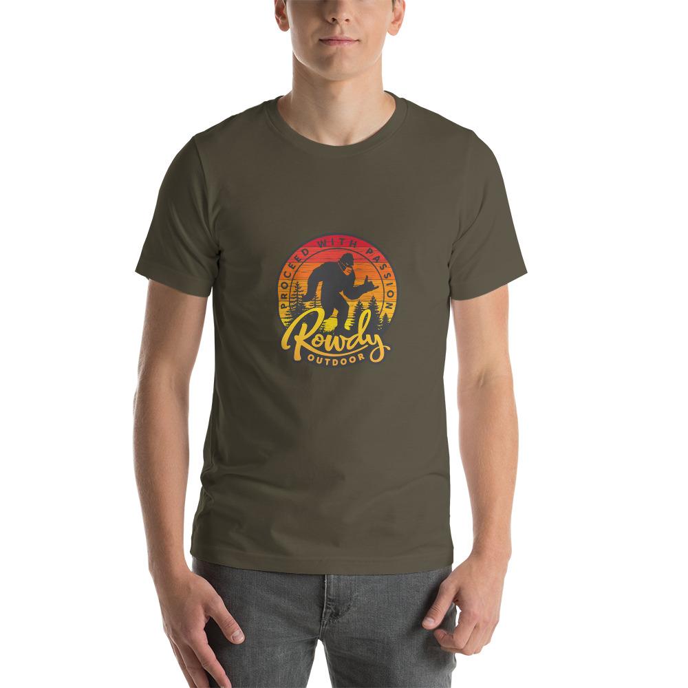 Masked Sasquatch - Shaka Sign Bigfoot - Rowdy Outdoor Tee Heather - Army Green