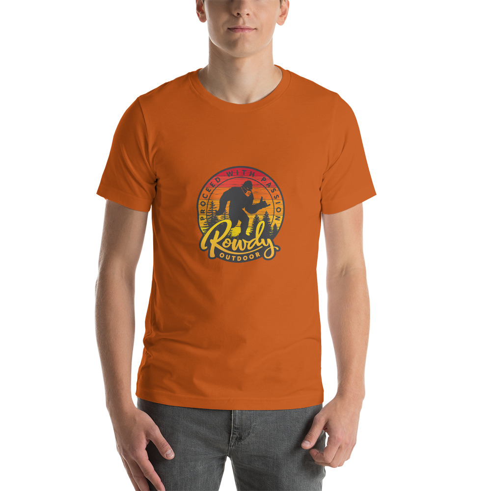 Masked Sasquatch - Shaka Sign Bigfoot - Rowdy Outdoor Tee Heather - Orange