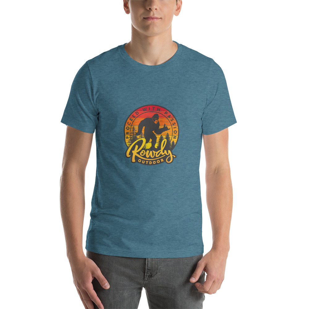 Masked Sasquatch - Shaka Sign Bigfoot - Rowdy Outdoor Tee Heather - Teal