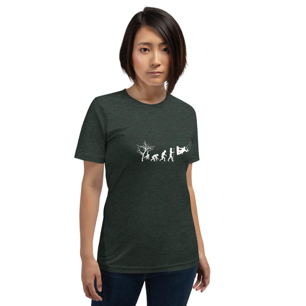 Evolution of Kiteboarding Kitesurfing T-Shirt - Rowdy outdoor - Forest Green Women