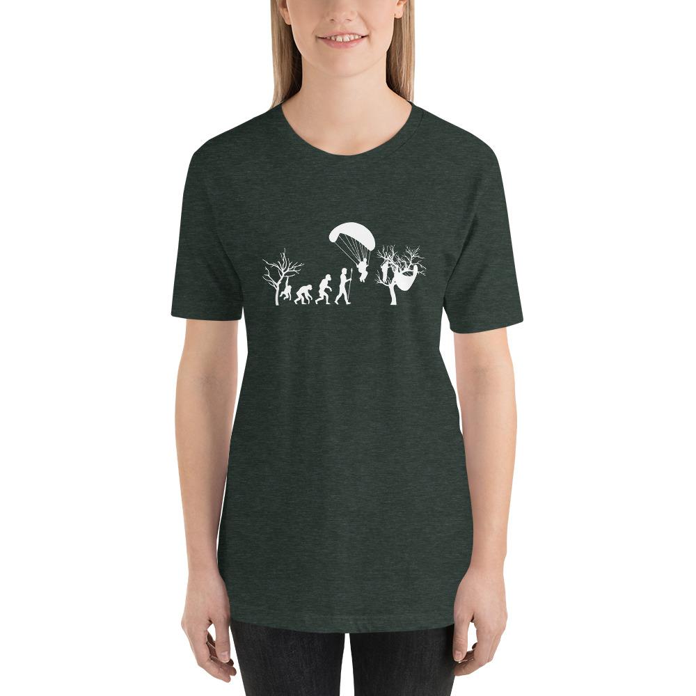 Evolution of Paragliding Tree Parody - Short-Sleeve T-Shirt - Forest Green Women