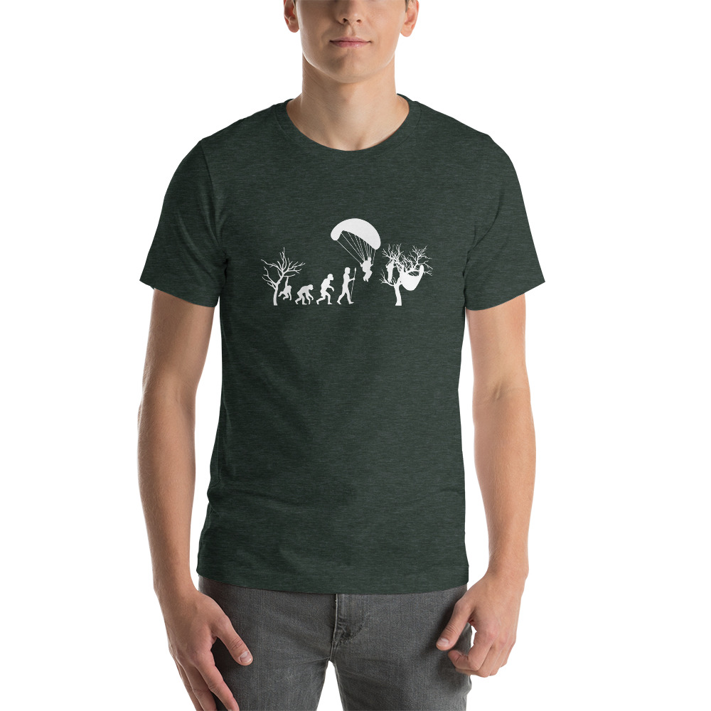 Evolution of Paragliding Tree Parody - Short-Sleeve T-Shirt - Forest Green