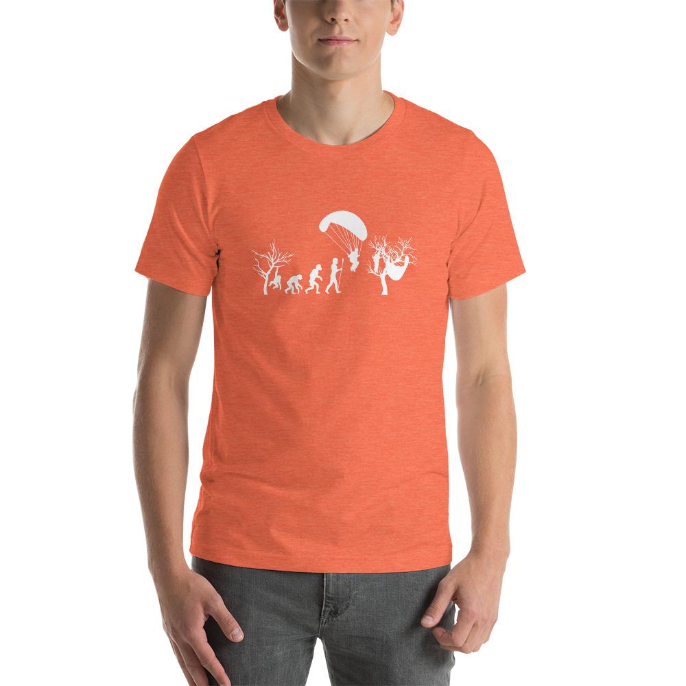 Evolution of Paragliding Tree Funny - Short-Sleeve T-Shirt - Orange