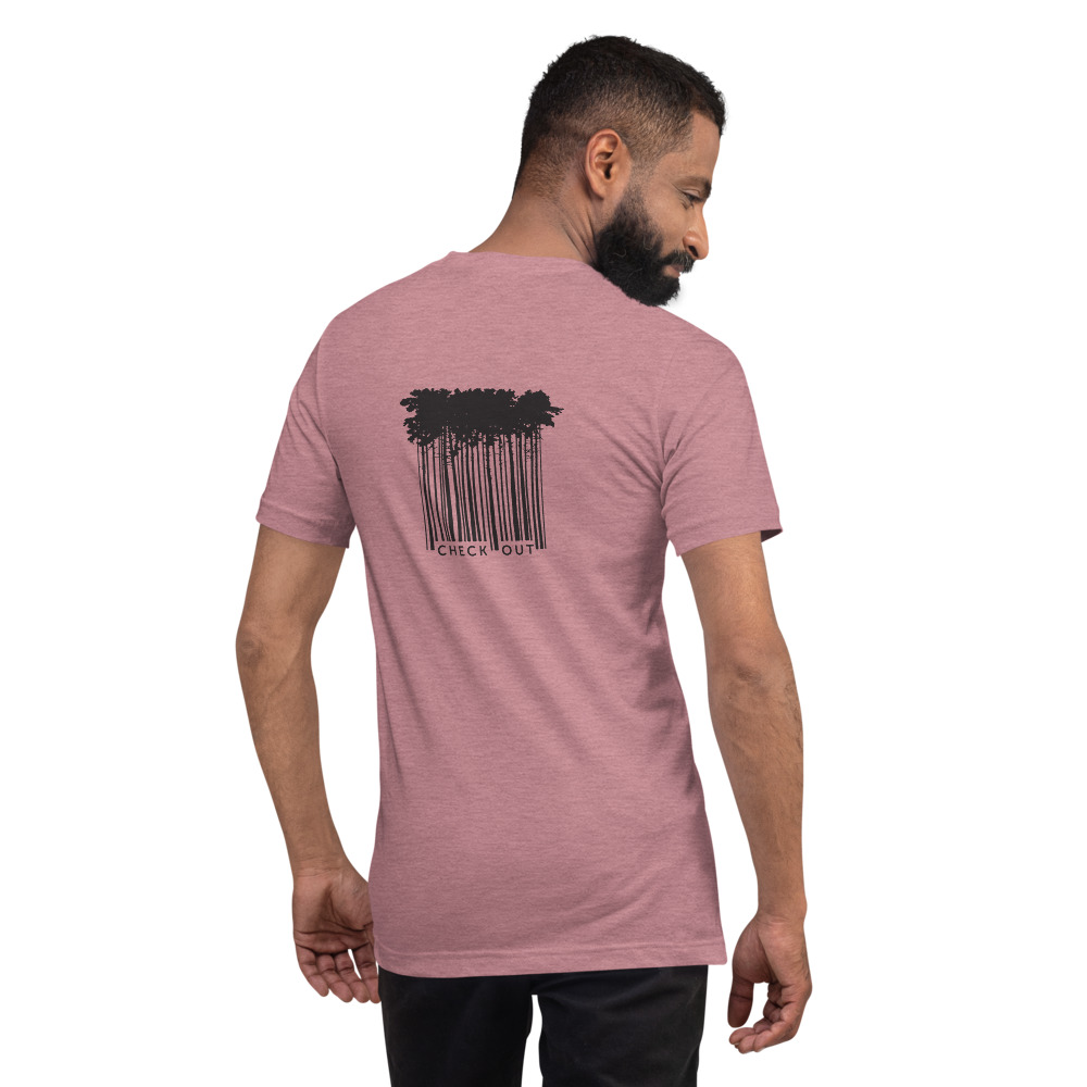 Checked Out Bar Code Trees - Escape to the Wilderness T-Shirt