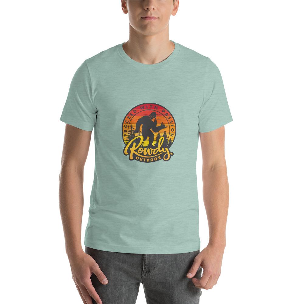 Masked Sasquatch - Shaka Sign Bigfoot - Rowdy Outdoor Tee Heather - Dusty Blue
