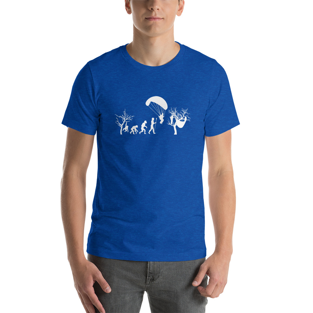 Evolution of Paragliding Tree Funny - Short-Sleeve T-Shirt - Royal Blue