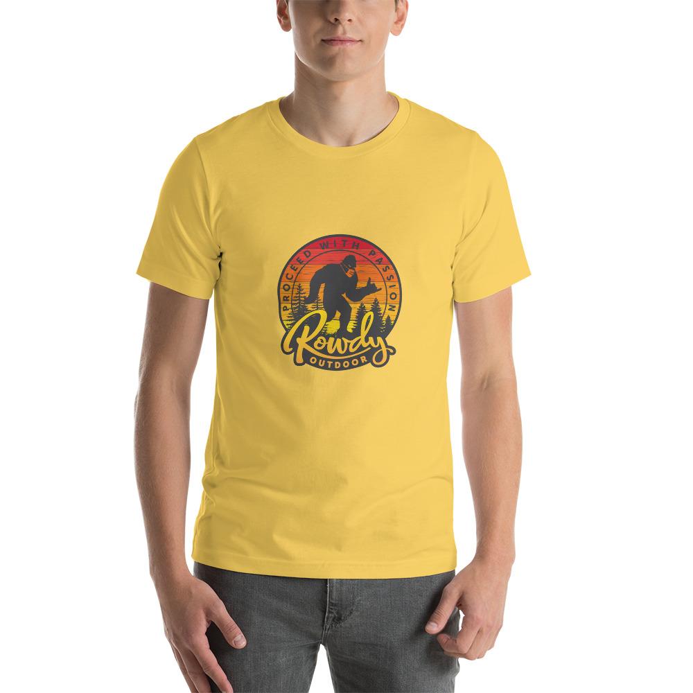 Masked Sasquatch - Shaka Sign Bigfoot - Rowdy Outdoor Tee Yellow